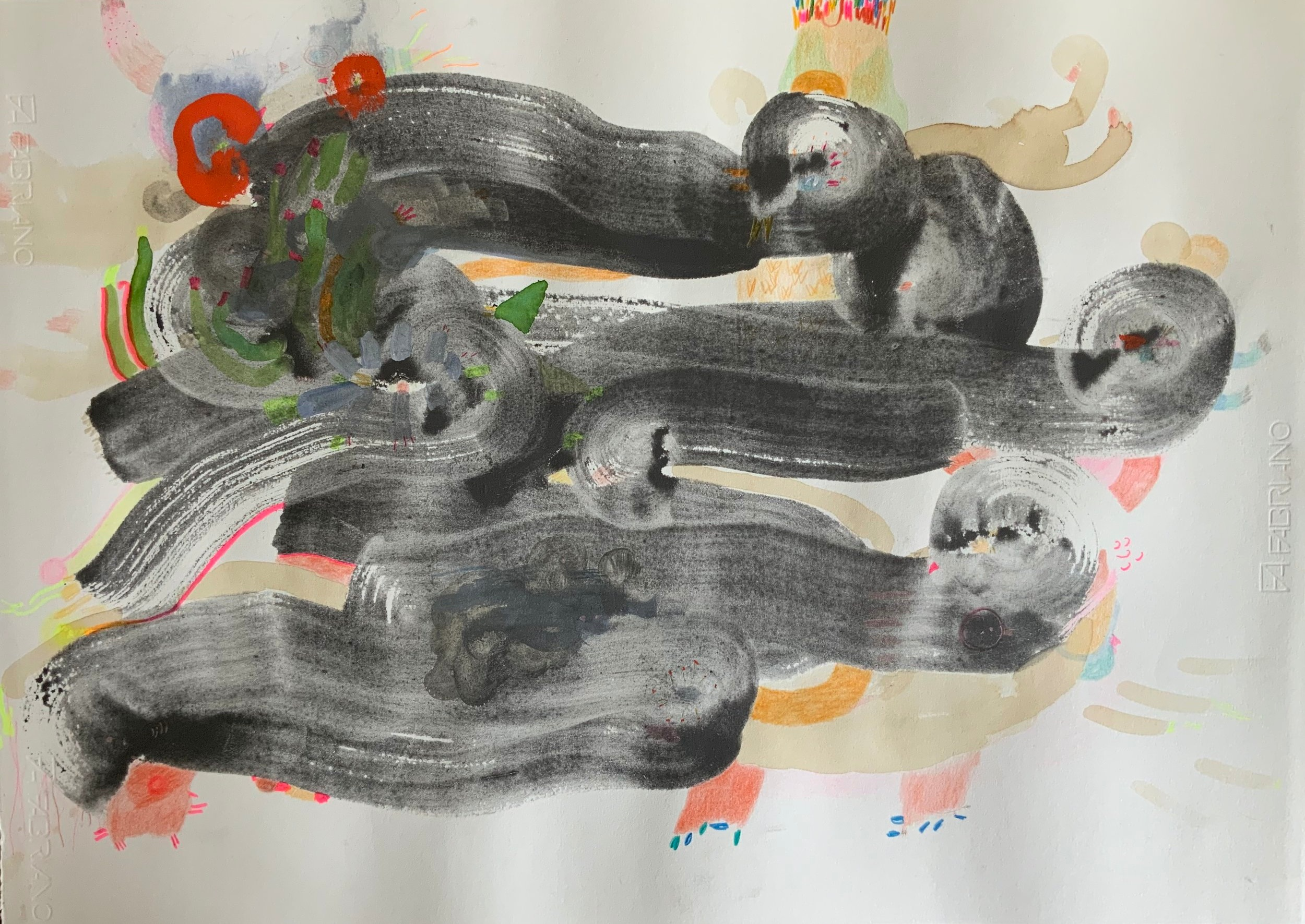 "Birds Carbon wash, crayon, pencil, graphite, and interference acrylic on cream rosapina 28 x 19.75 "" 2019"