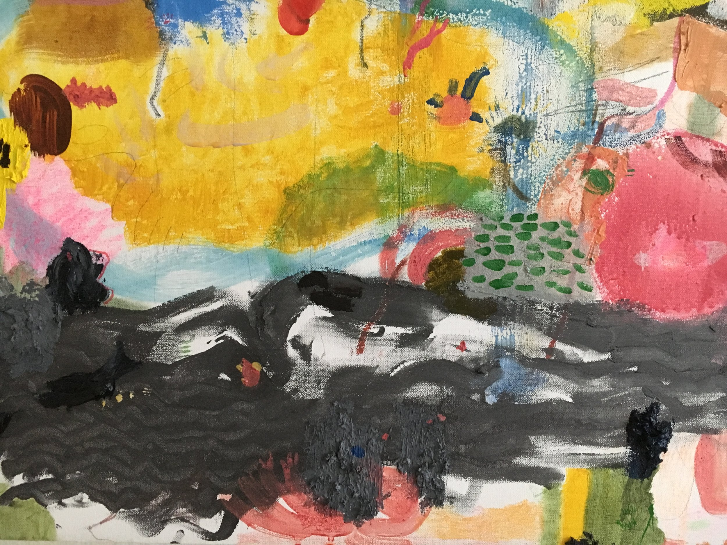RUNNING [detail, peacock and whales, approximately 7 x 5 inches} Oil, powdered pigment, carbon, graphite, hand set yellow glass chips and muscovite flakes, and crayon on canvas 7 x 3 feet, diptych 2019