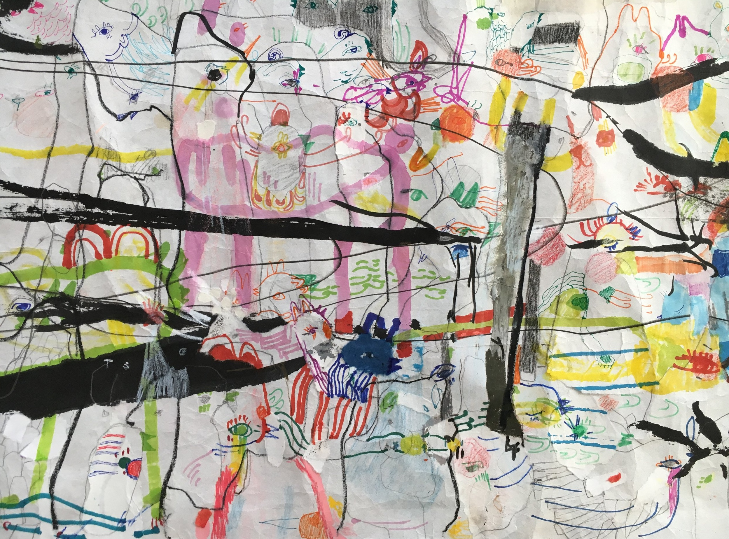 Up Above and All Around, Scroll Section 6  Ink, crayon, dye, watercolor, acrylic, pencil, and rice paper on mulberry paper 2.5 x 30 feet*