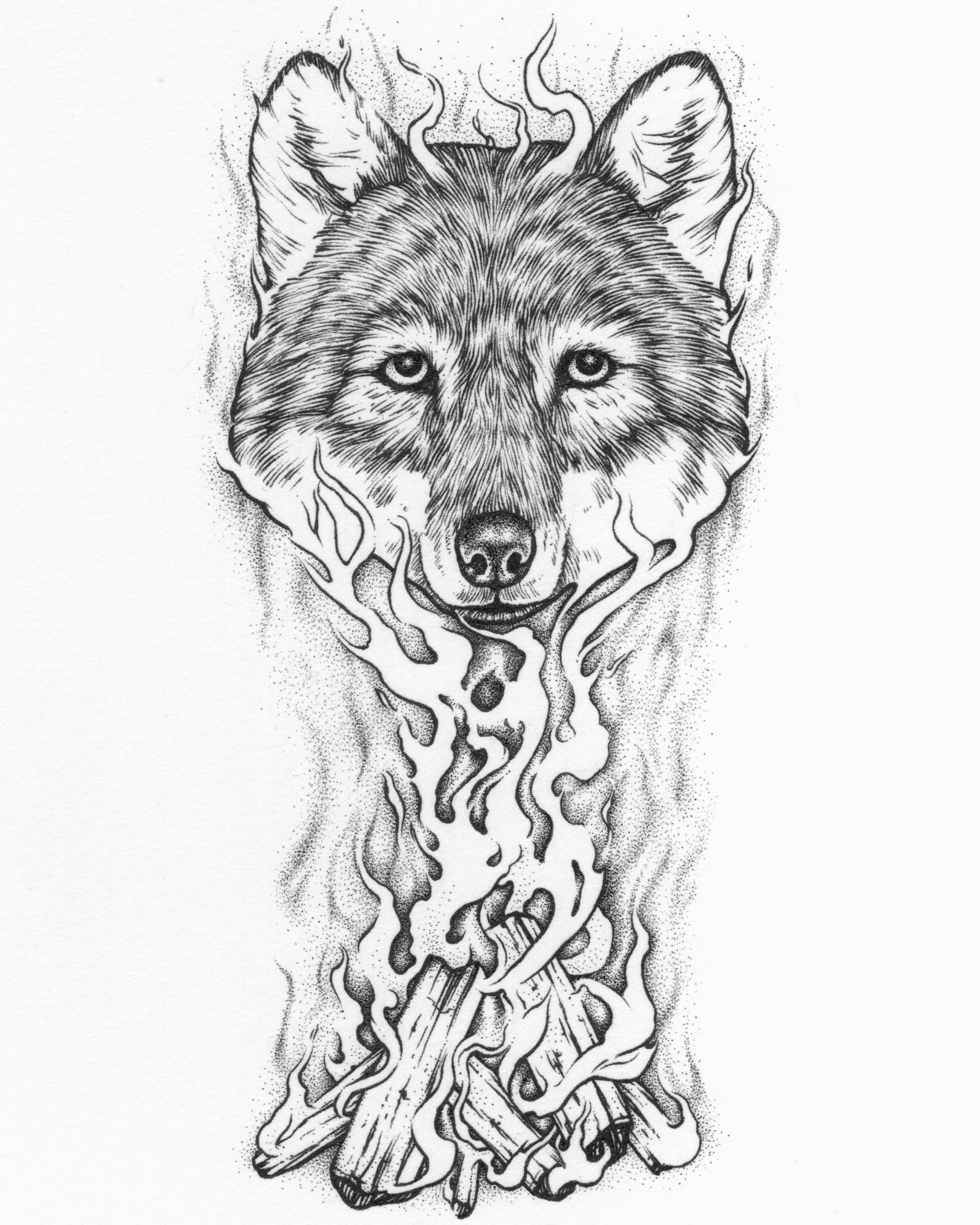 Wolf Spirit in the Flames