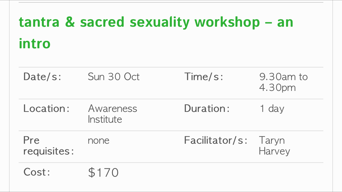 Sydney Tantra Workshop Taryn Harvey