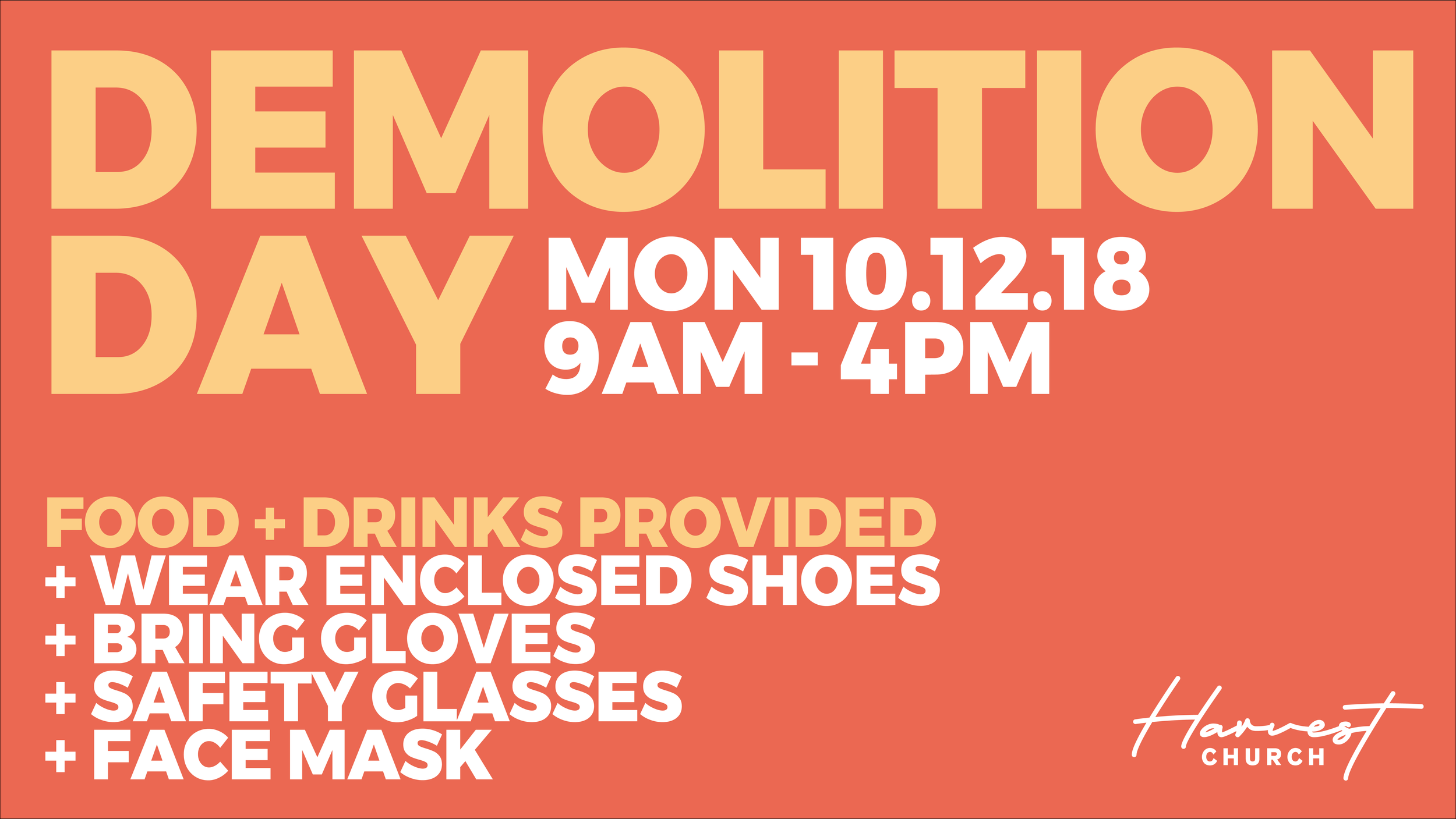 Join us as we demolish our Bathrooms to start renovating them.  Wear enclosed shoes + bring gloves, glasses and face mask Food + Drinks provided