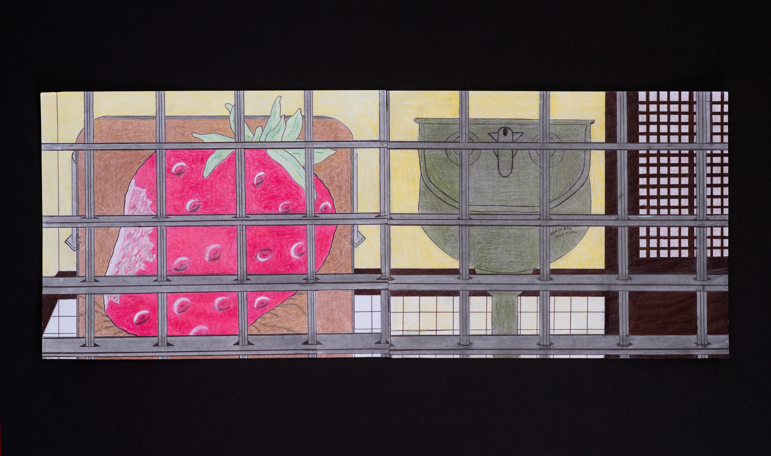 """Diptych -Left: Untitled (Strawberry cell) , Right: Death Row Last Meal , color pencils on paper, 8 1/2"""" x 11"""""""