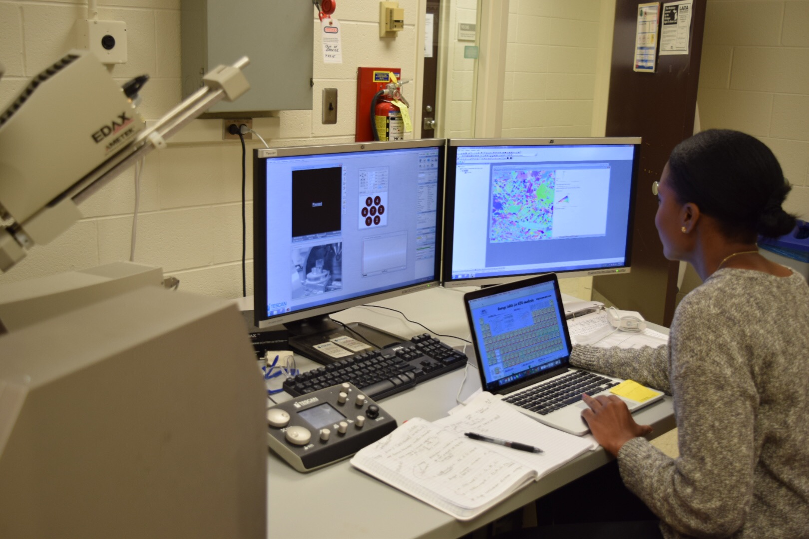 Characterizing samples in a scanning electron microscope using a technique called electron back scatter diffraction
