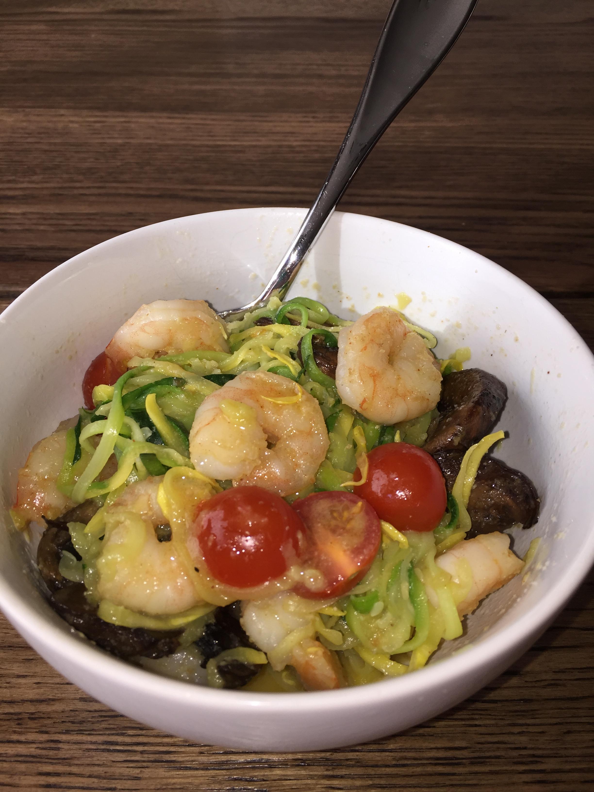 Rceipe for basal garlic shrimp pasta