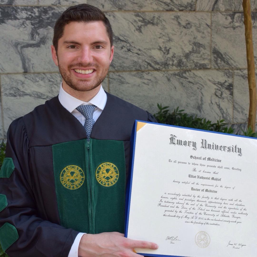 Elliot Mahlof at his Emory University School of Medicine Graduation in Atlanta, Ga