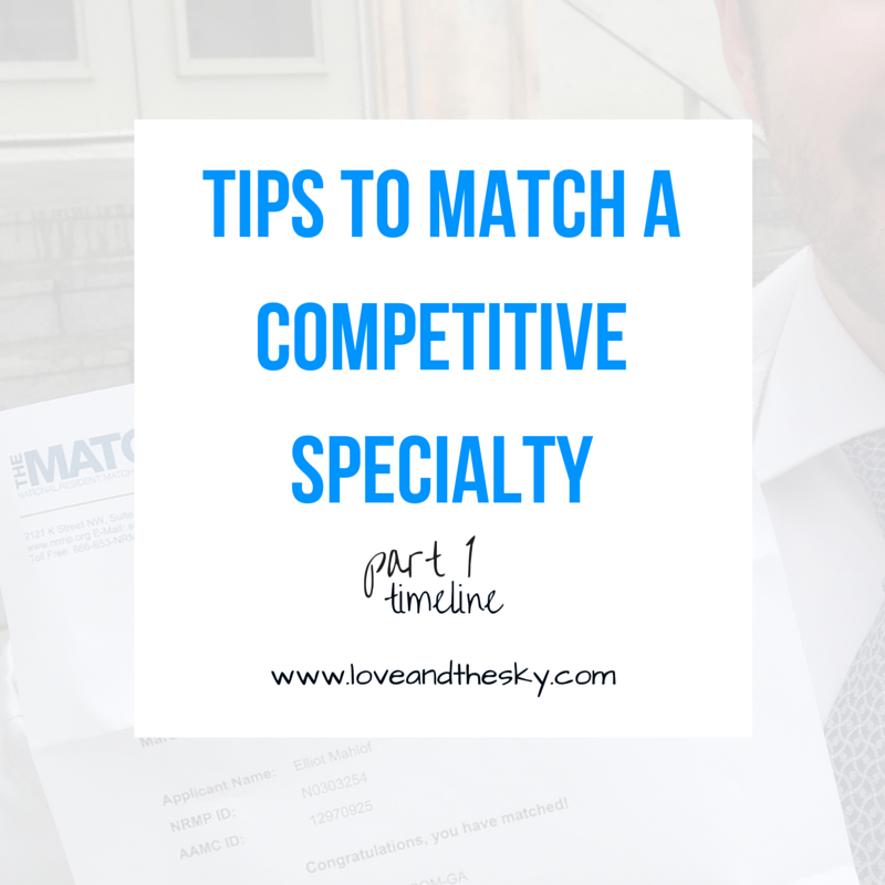 Tips to match a competitive specialty - part 1 - a timeline
