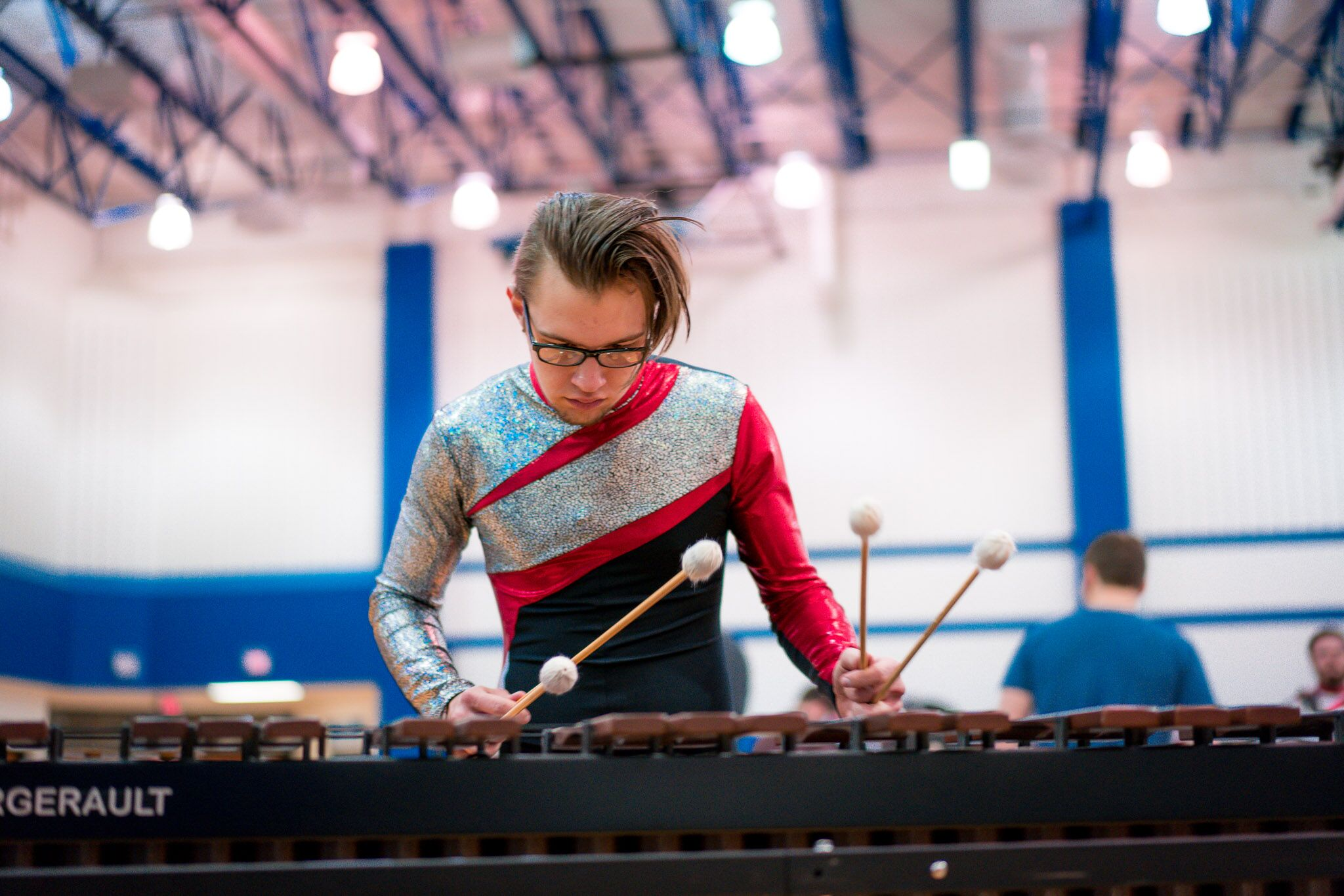Bryan Rooker plays the marimba during warm up at the 2018 WGI Indianapolis Regional. INov8 won the open class category with a score of 90.15.