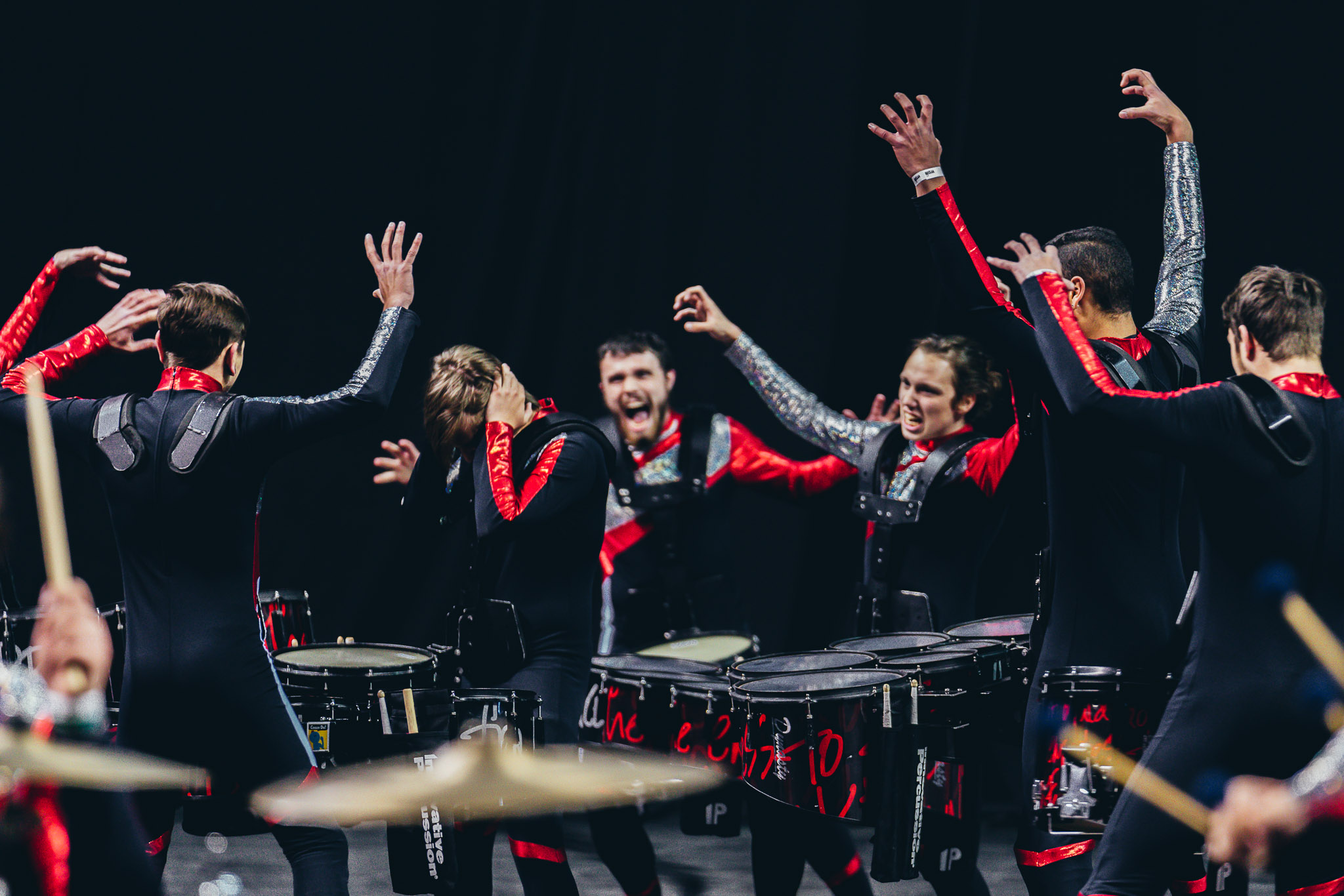 Members of the drumline perform at the 2018 WGI MidEast Power Regional on March 24 & 25. INov8 scored a 90.80 in Finals, capturing the regional for the first time.