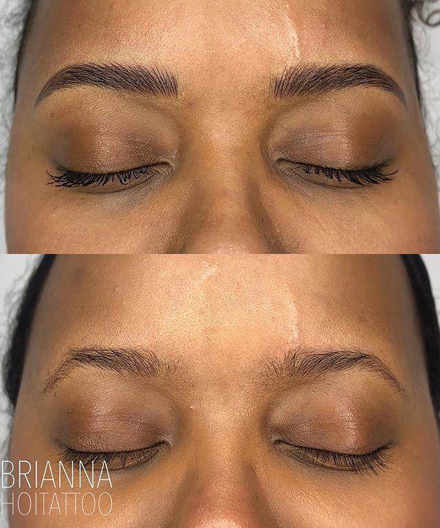 Monday mornin' brow rehab 🙌🏽 . . artist | @bri.hoitattoo  studio | @hoitattoo  technique | microblading pigments | @tinadavies @tinadaviesprofessional in darkest brown! . . Online books - www.hoitattoo.com