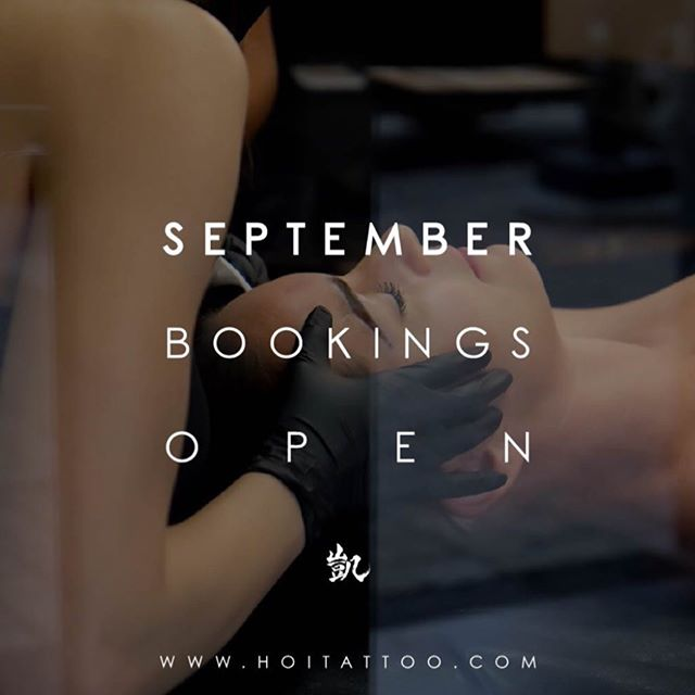 September Books open in T- 90 minutes! . . Online Booking - WWW.HOITATTOO.COM
