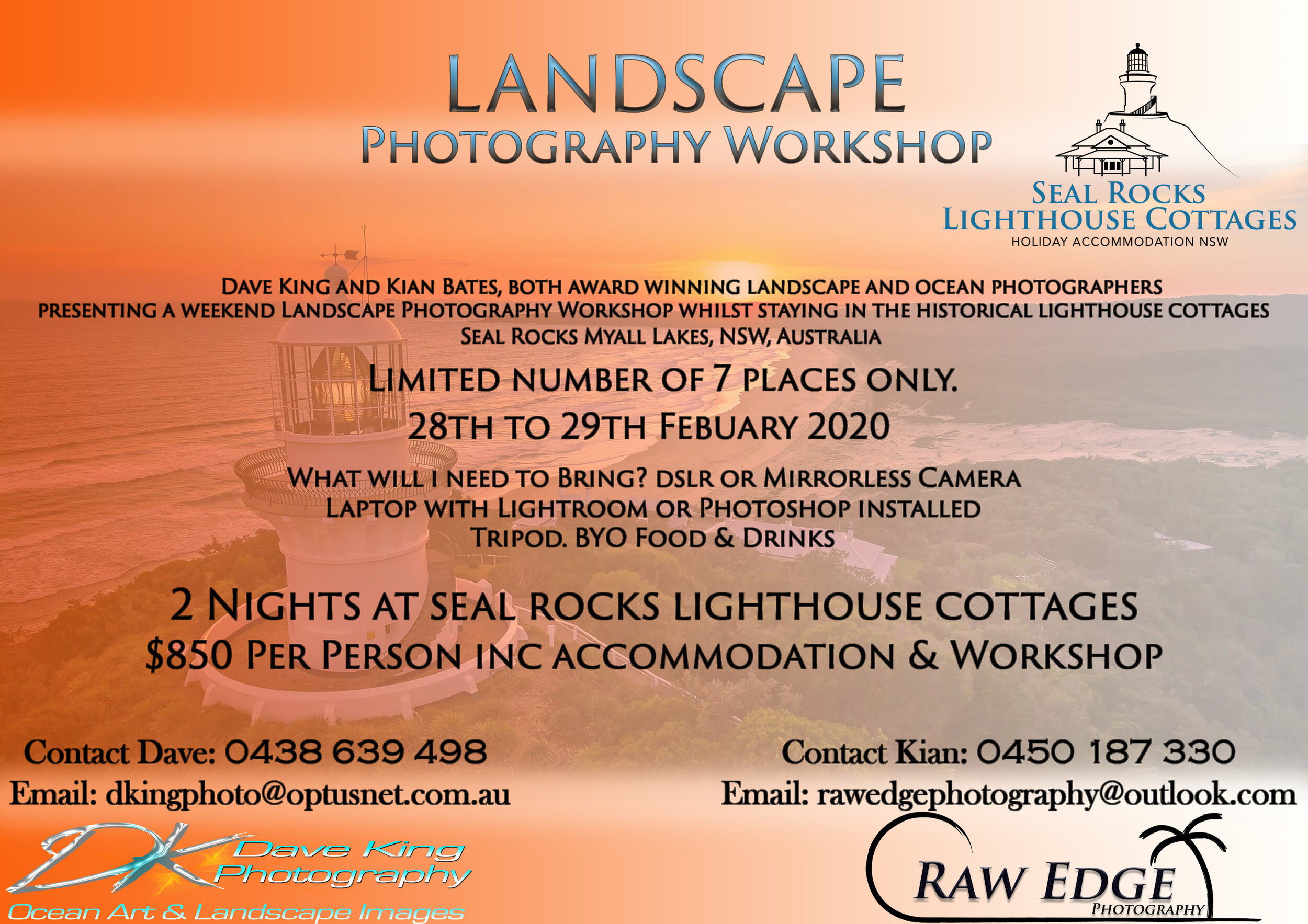 All Exclusive landscape photography workshop at Seal Rocks Lighthouse.  We have 5 spots left  To book we require a $400 deposit, this allocates your own private room at Seal Rocks Lighthouse cottages.  Email me for more details.