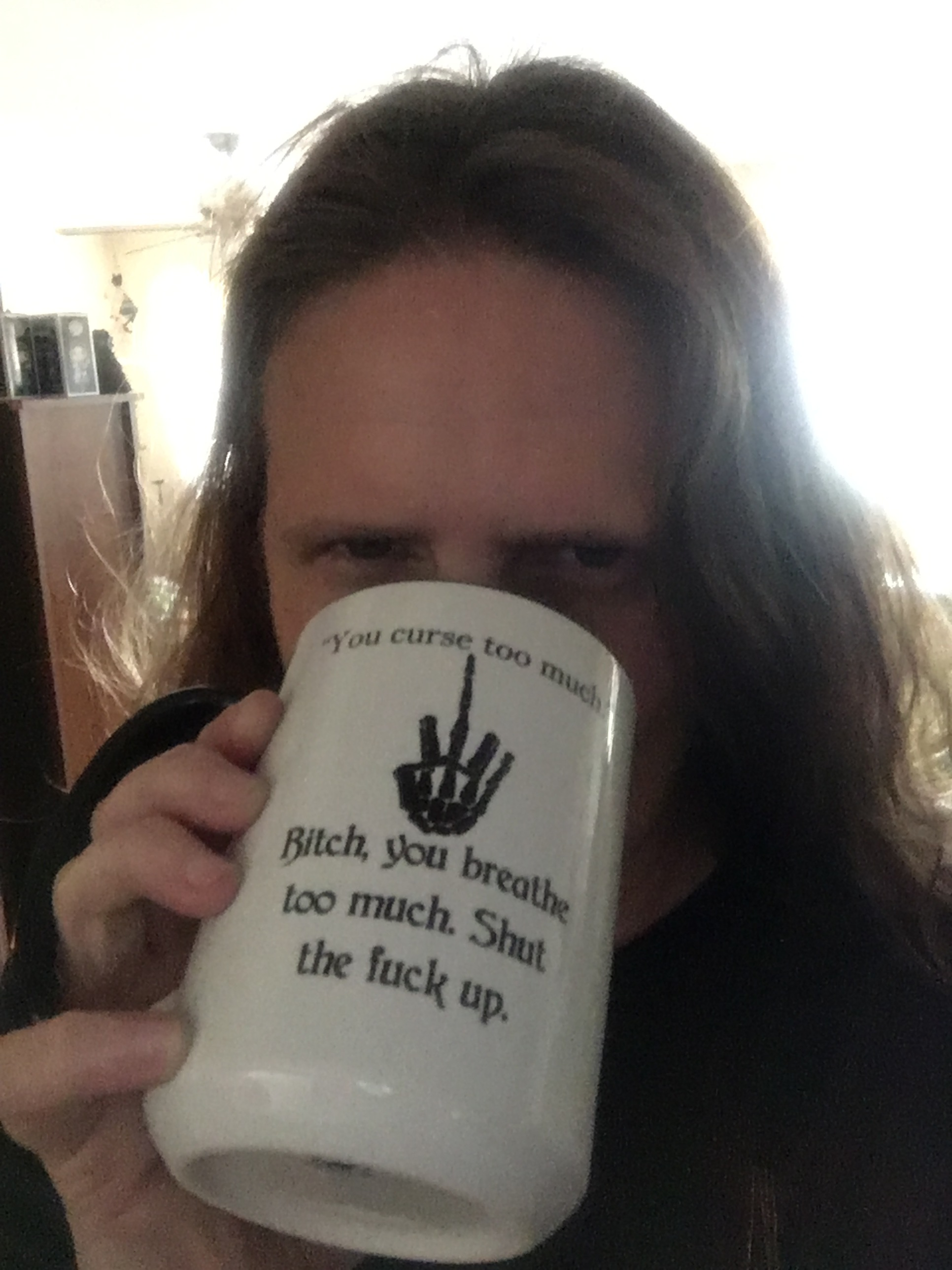 My new coffee mug that has been banned from work.