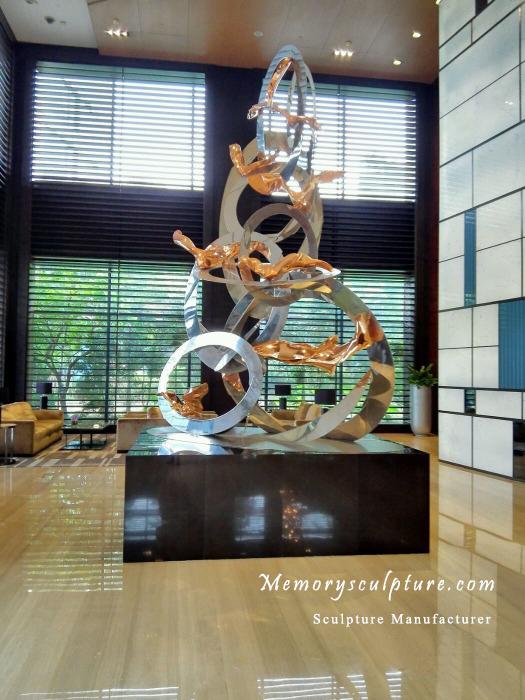stainless steel hotel sculpture