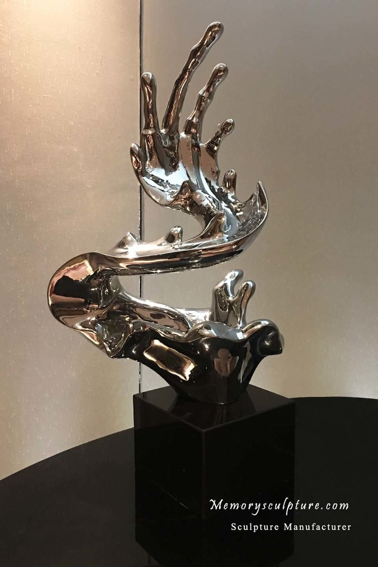 Waving - This 50cm height Waving sculpture was cast in stainless steel with mirror polished finish for hotel decoration.