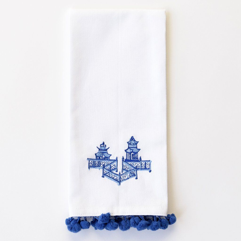 Pagoda Tea Towels with pom pom edges- Yes, Please!