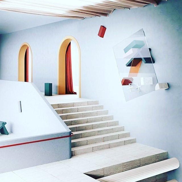This soft Escher-esque environment where up is sideways, and gravity is conditional was rendered by Massimo Colonna. That exquisitely blurry line between real space and dream space compels me to no end. I can't look away. #thevisionaryspace #beyondbeauty #mcescher