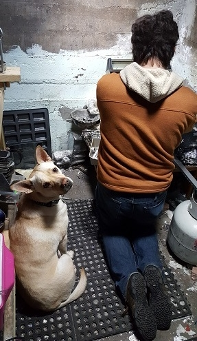 Daisy assisting Chris with a pour!