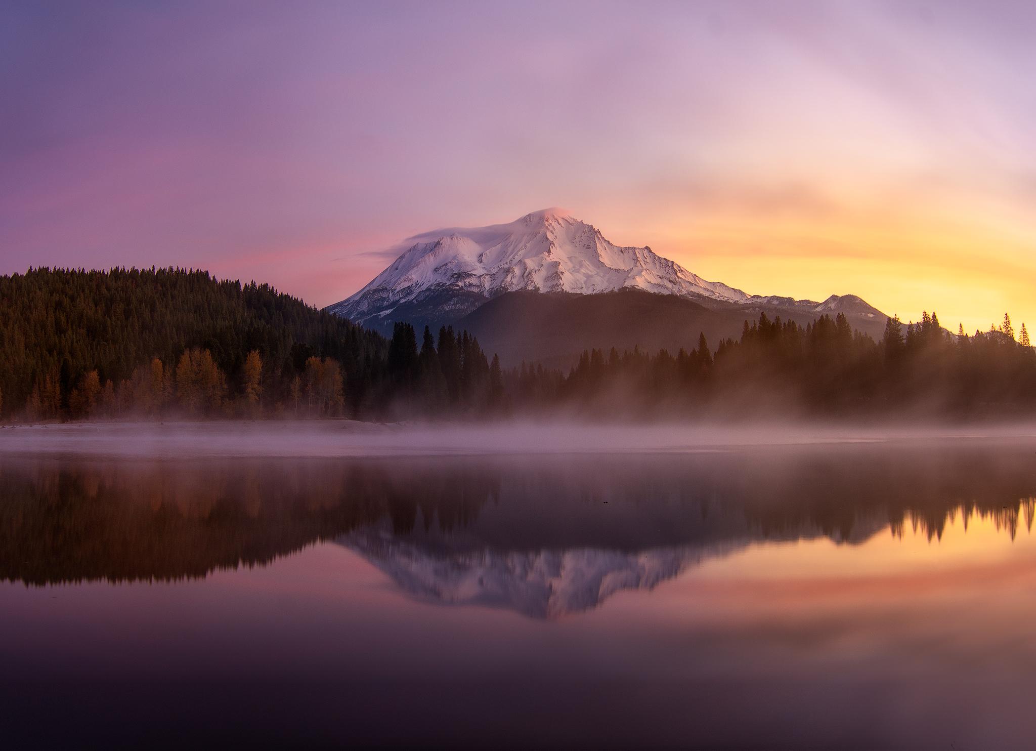 Sunrise colors at Mt Shasta