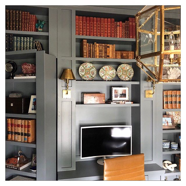 Would work from this home office any day... 😍🙇♀️📚 So in love with how this study turned out... dark colors, antique accessories, hidden door (!!), and clients who have a vision 💛👊🏻 #jbinteriors #studydesign #officedesign #homeoffice #dark #moody #antiques #custom #builtins #accessories #brass #designhouston #houstondesign
