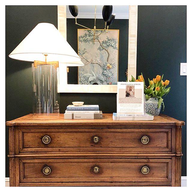 Another view of our favorite green room... 💚 #comevisitus #jbinteriors #antiquedresser #bedroomdesign #green #gracie #houstondesign #designhouston