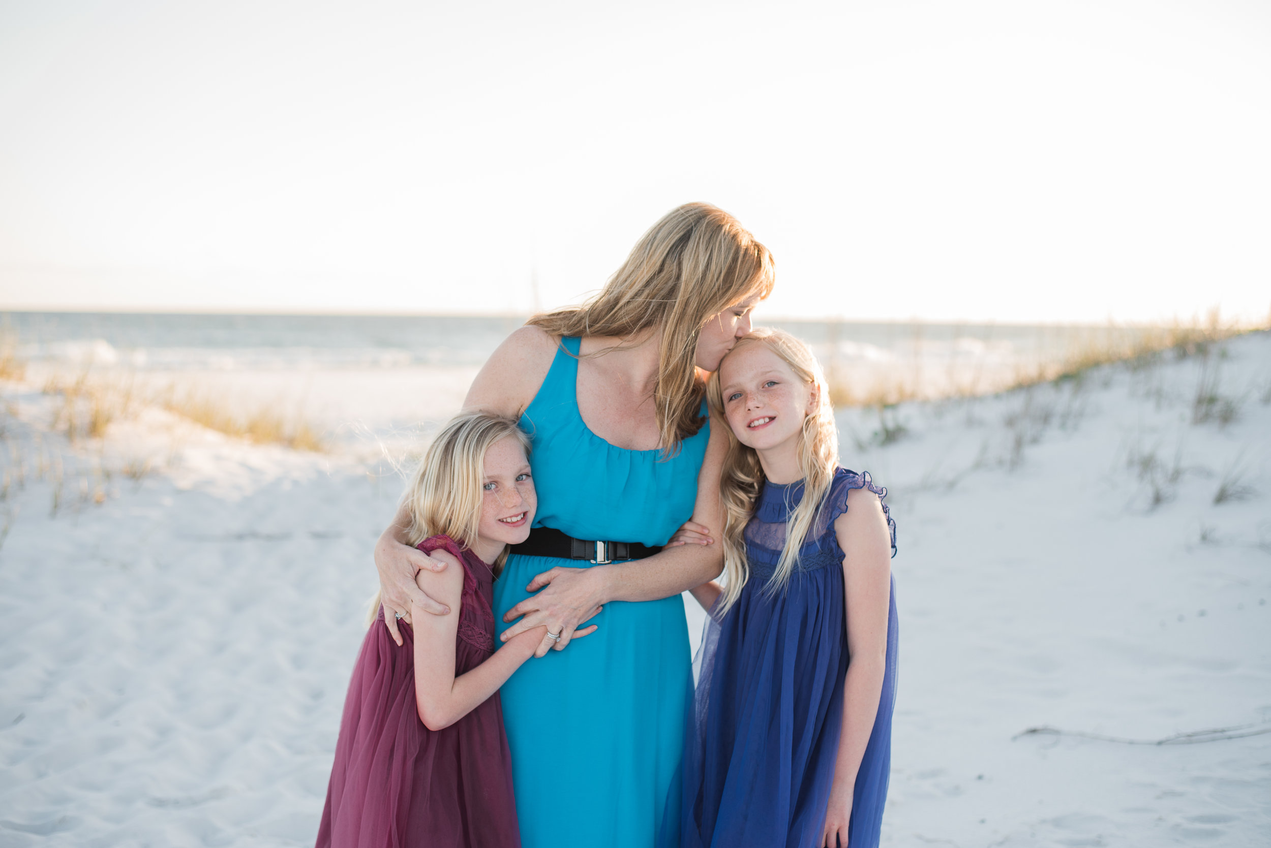 two girls with me kissing one-Pensacola Family Photographer