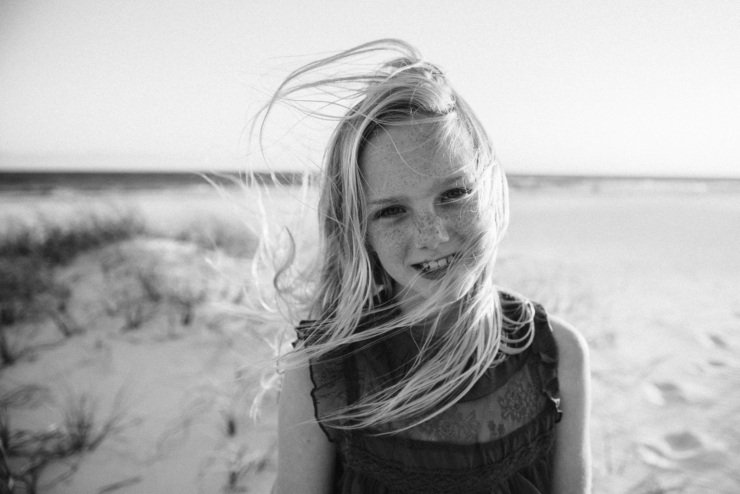 black and white photo of girl-pensacola beach child photographer
