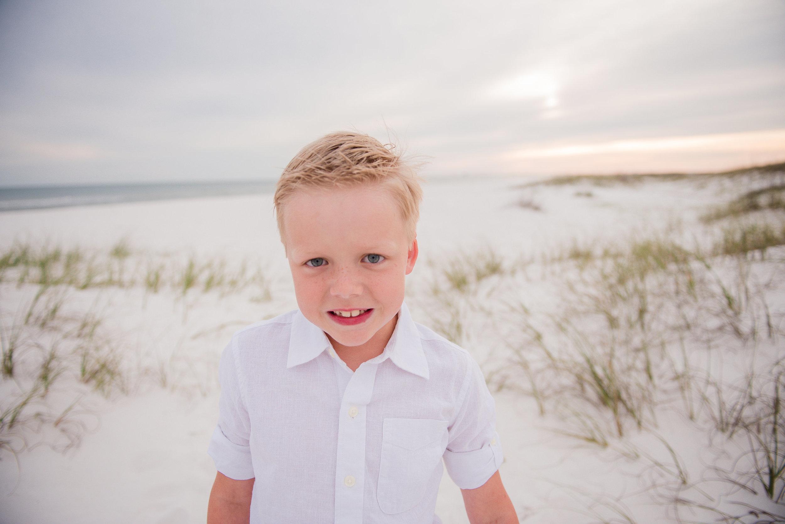 boy in sand-Pensacola Family Photographer