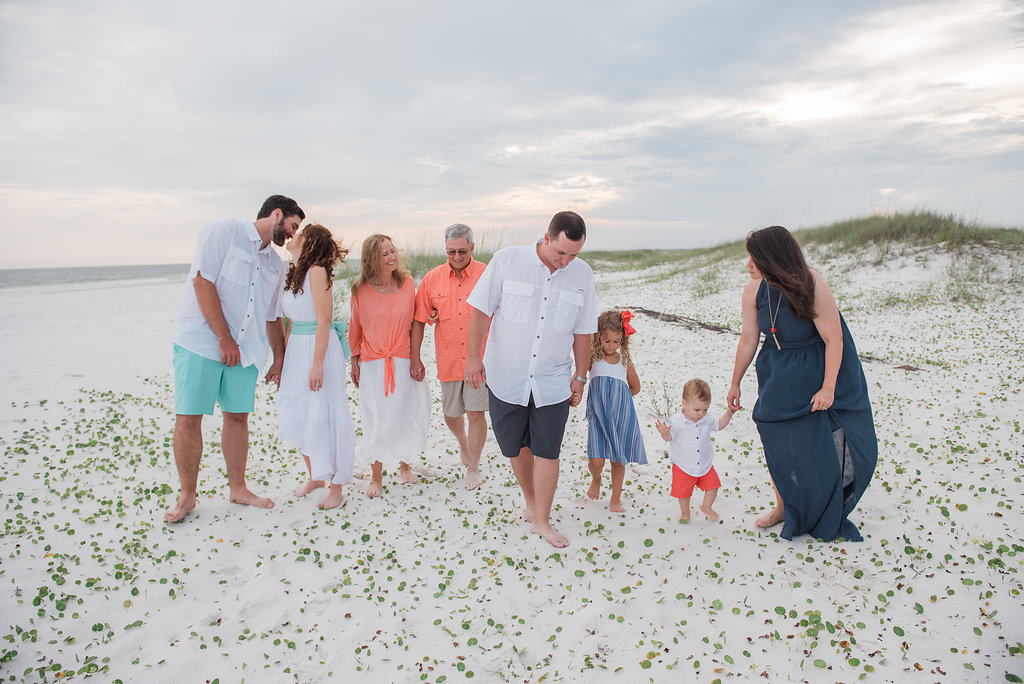 large family walking-pensacola photographer
