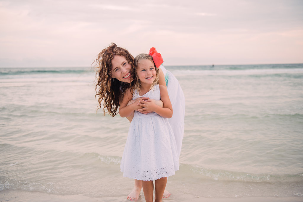 aunt and girl and beach-pensacola photographer