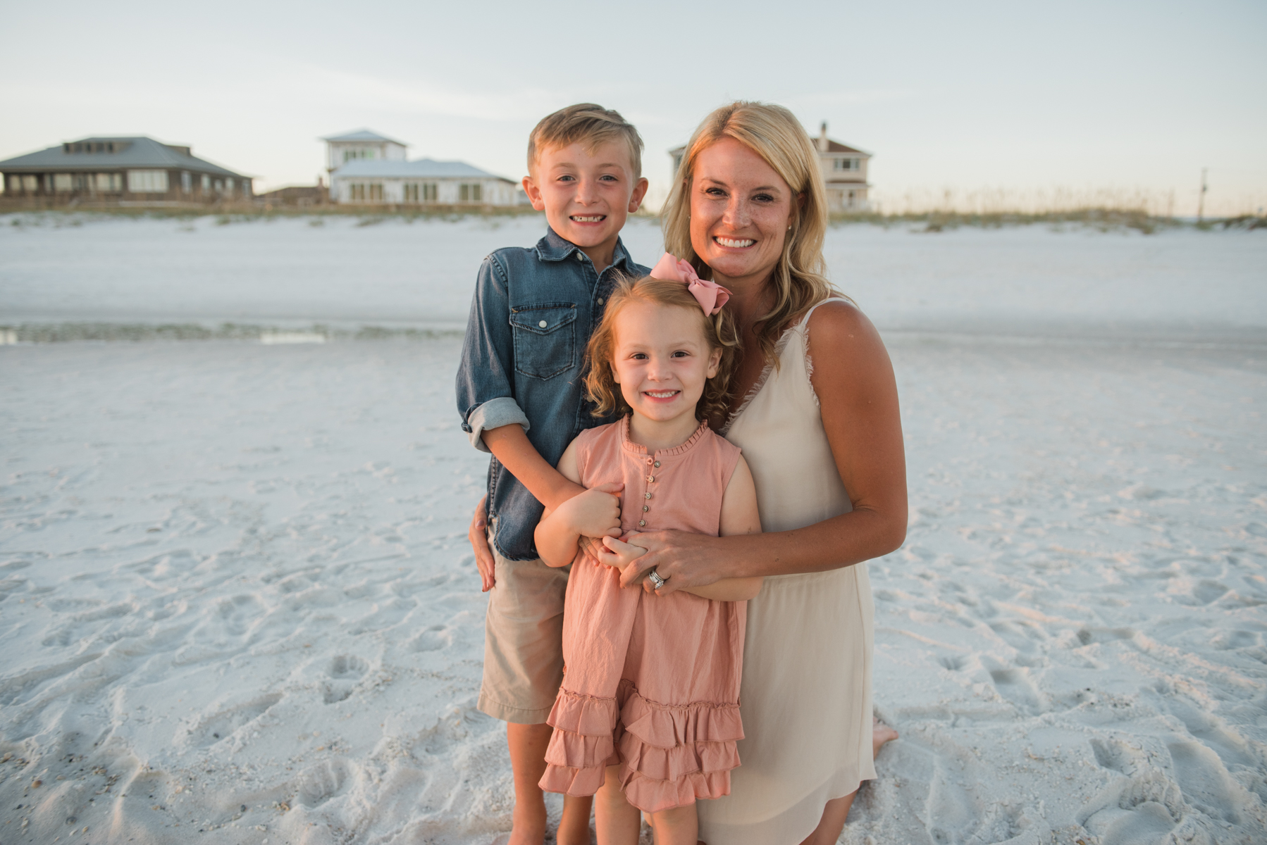 mom with kids at beach-pensacola beach family photographer