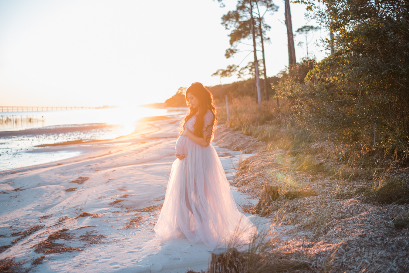 lady at beach-Pensacola Maternity Photographer