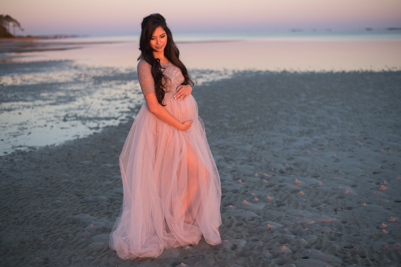woman at beach-pensacola maternity photographer