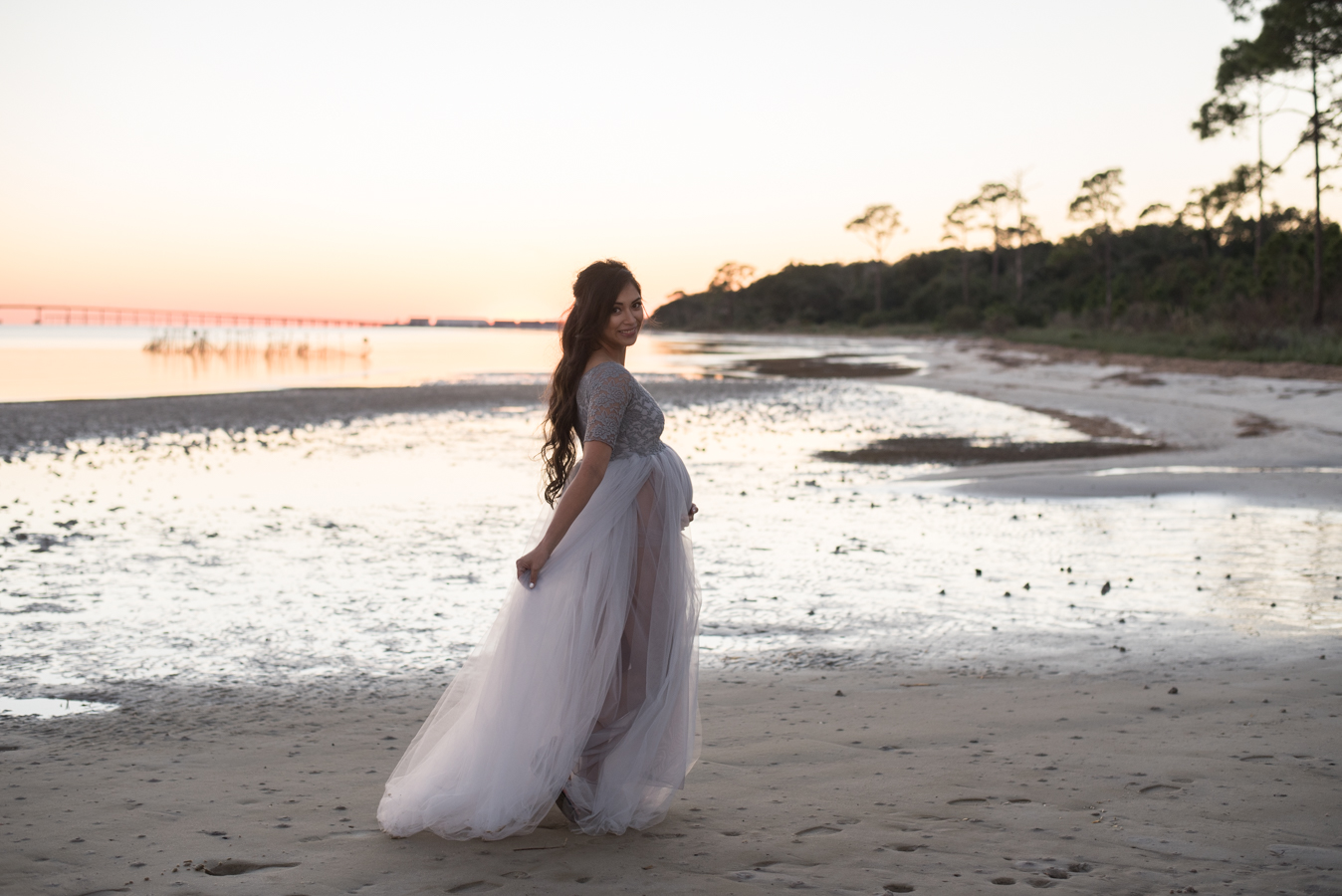 lady standing at ocean-pensacola maternity photographer