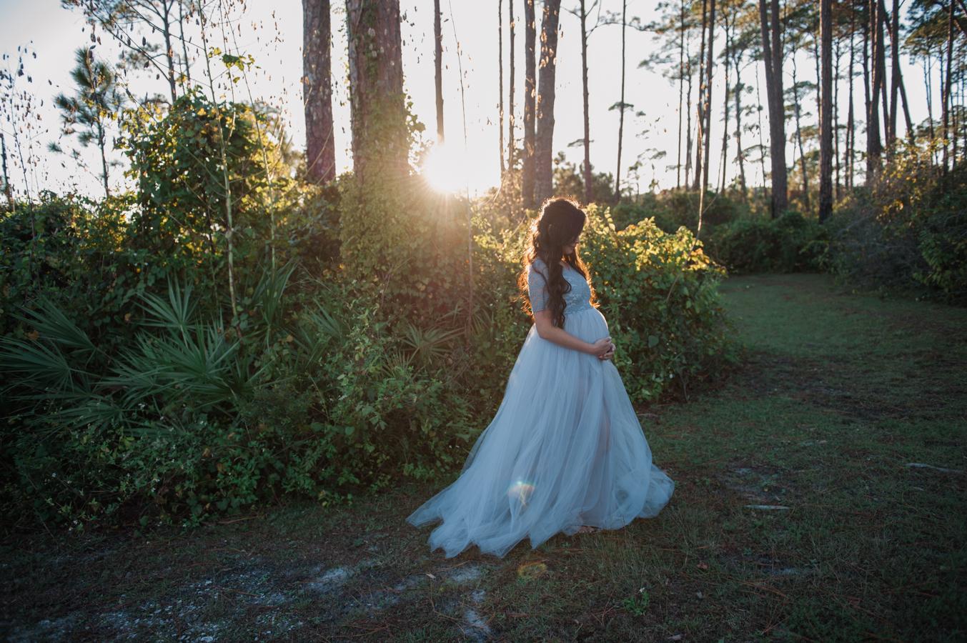 mom in dress pregnant-Pensacola maternity photographer