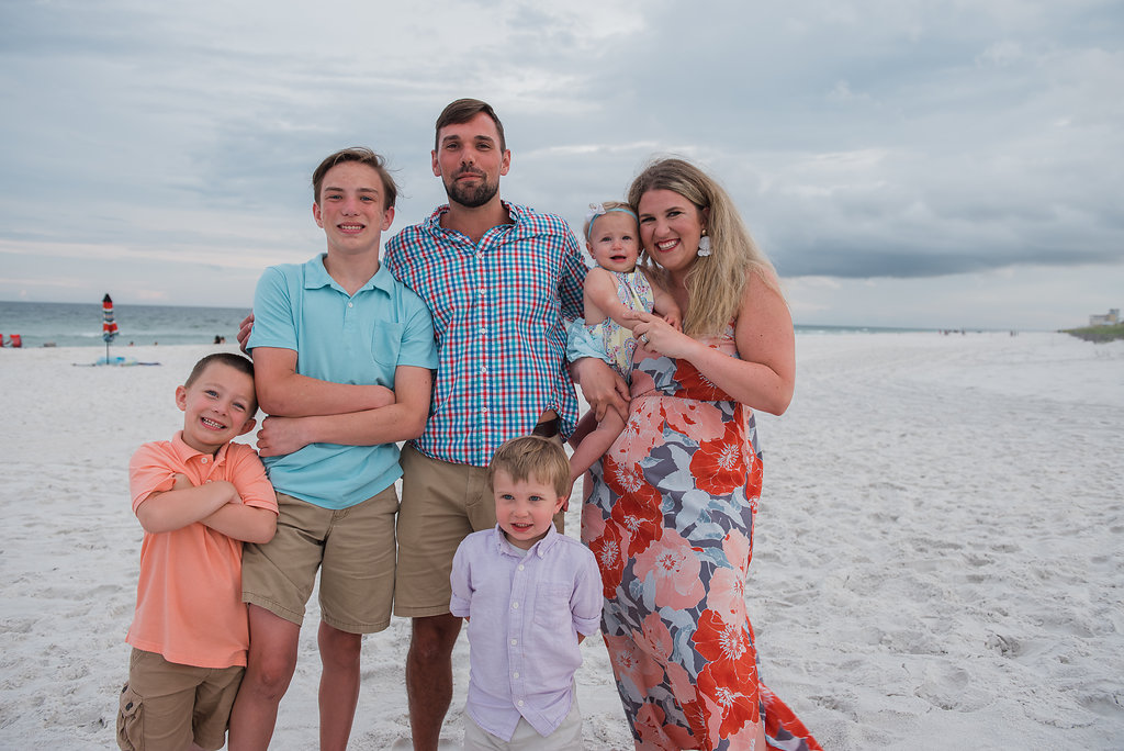 family at beach-Pensacola Beach Family Photographer