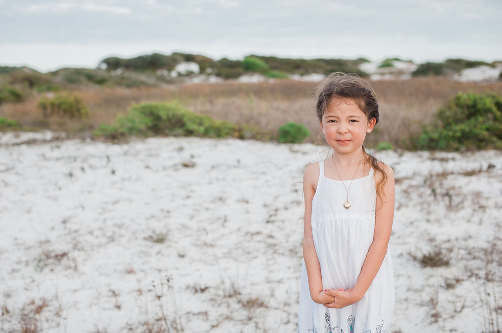 girl standing in dune-pensacola- pensaocola beach family photographer