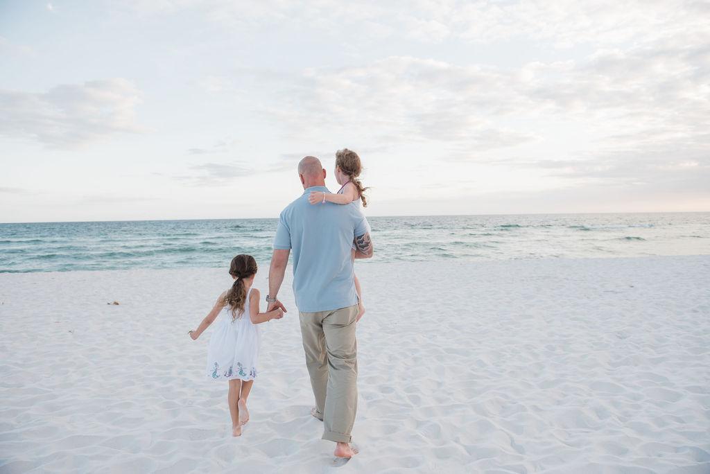 dad with kids at beach-pensacola beach photographer