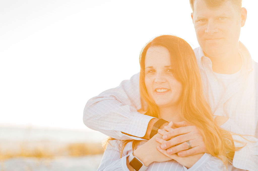 couple in bright sunlight-pensacola beach family photographer