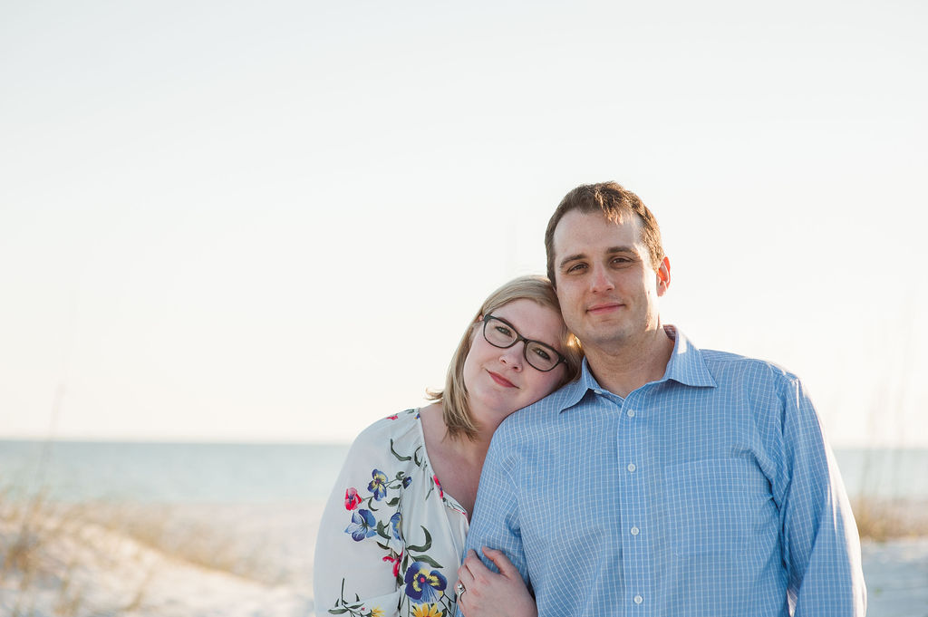 couple on beach-pensacola beach family photographer