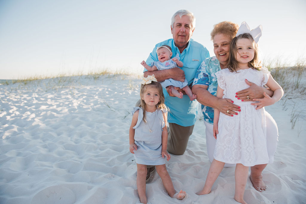 grandparents with kids-pensacola family beach photographer