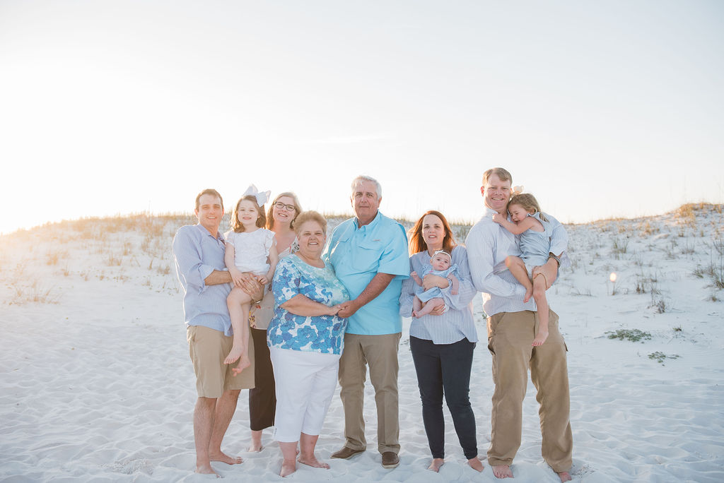 extended family on beach=pensacola beach family photographer