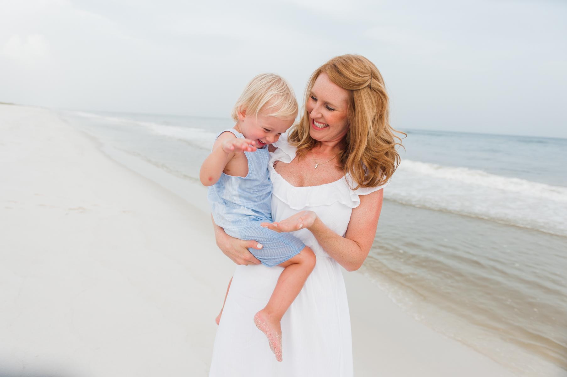 mom and son at beach-pensacola beach family photographer