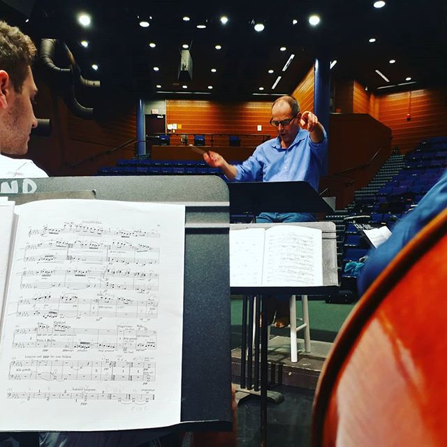 Federico Cortese in rehearsal at the Cambridge Rindge and Latin School. Concert this Saturday!  #concert #focused #harvard #harvardradcliffeorchestra
