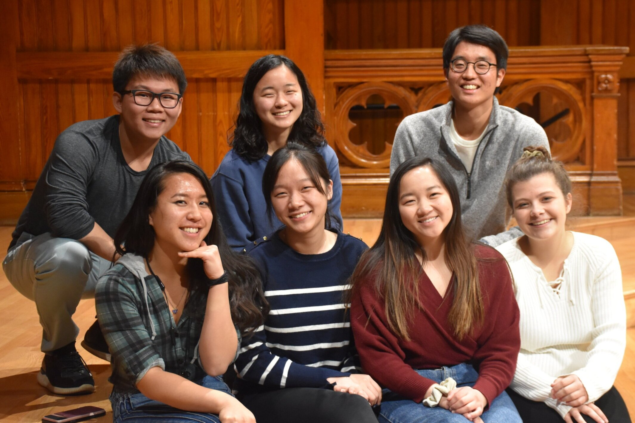 (From left to right) Front Row: Jenny Wang, Claire Tseng, Odessa Deng, Amelia Cossentino. Second Row: Austin Kwoun, Anna Gong, Patrick Song. Photo Credits: Topher Colby