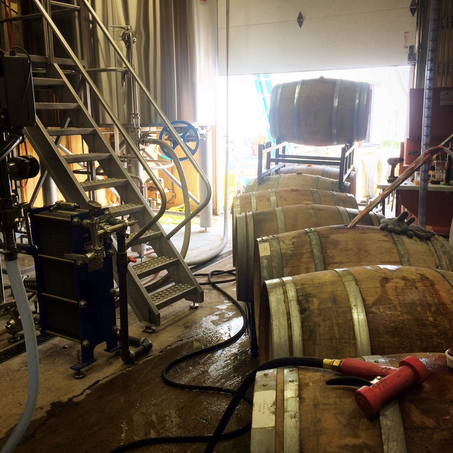 Filling the barrels to bring back to Beacon.