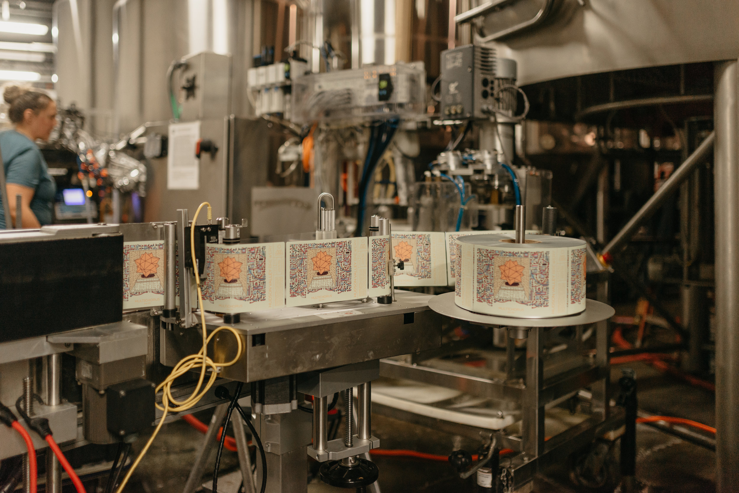 Photo of Multichorus labels during canning