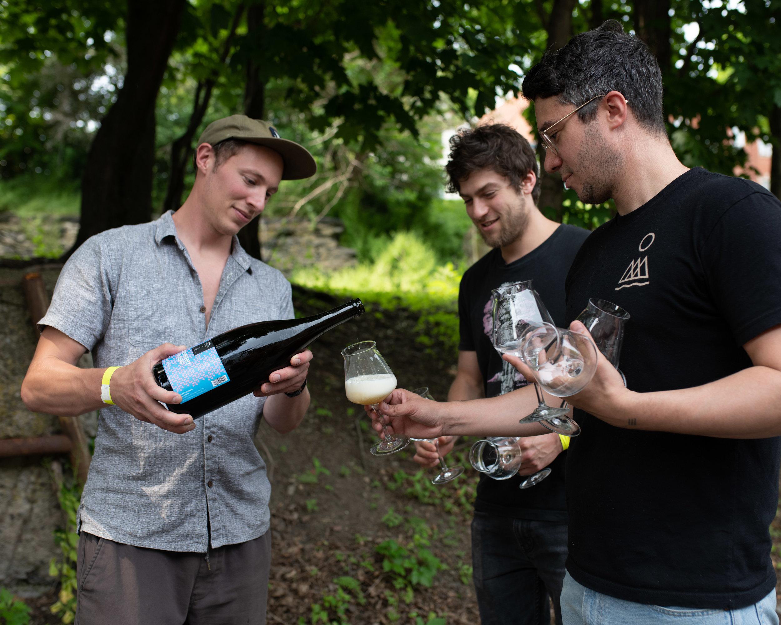Ben, Matt & Jason drink a magnum of Saison from Threes' cellar.