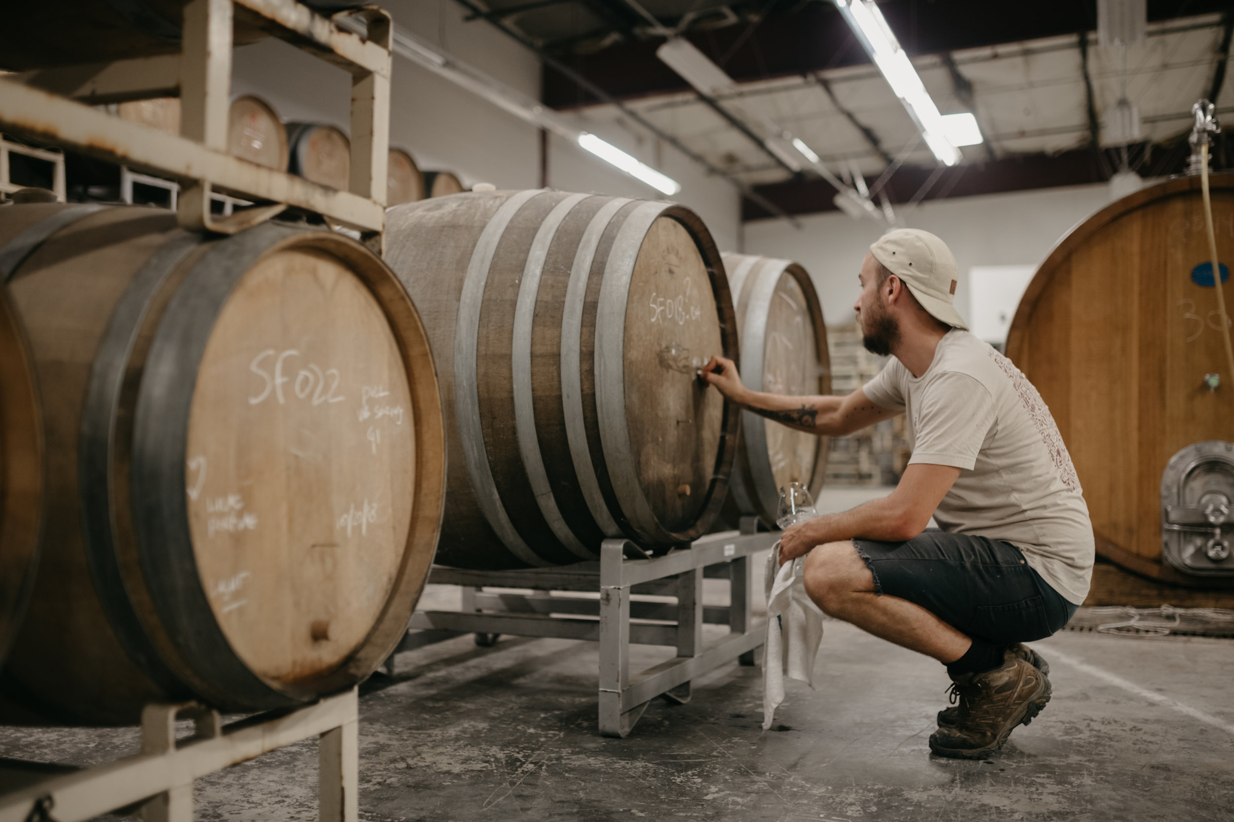 Valley Beer conditioning in barrels in our barrel warehouse