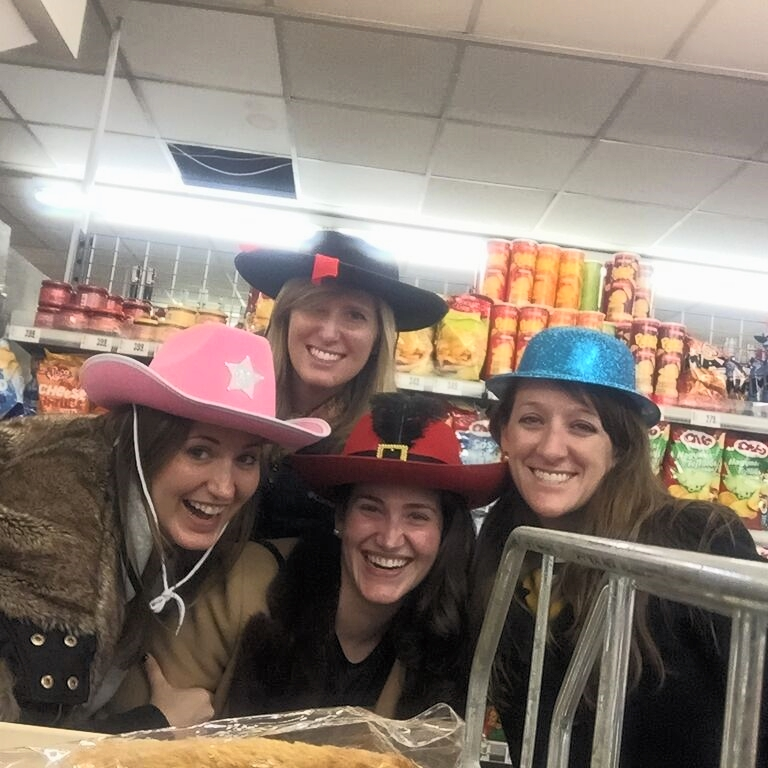 Don't forget to buy a very fashionable hat at the Hungarian grocery store before you head out for a night on the town!